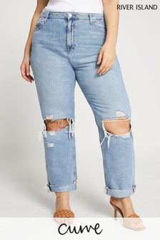 River Island Plus Denim Medium Boyfriend Rip Ambs Jeans