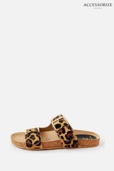 Accessorize Leopard Print Buckle Sandals