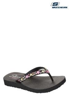 Skechers Black Meditation Daisy Garden Summer Sandals