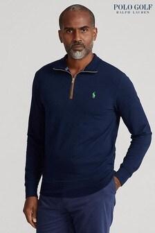 Polo Golf by Ralph Lauren Navy Half Zip Long Sleeve Knit Sweat Top
