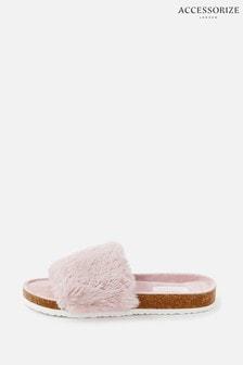 Accessorize Symone Fluffy Slider Slippers
