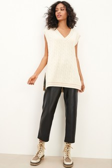 V-Neck Cable Tank Sweater