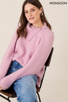 Monsoon Pink Lounge Split Neck Knit Jumper