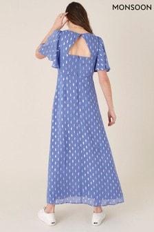 Monsoon Blue Ann Metallic Spot Maxi Dress