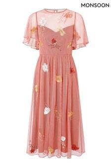 Monsoon Orange Elissia Embellished Midi Dress In Recycled Fabric
