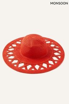 Monsoon Red Charli Colour-Pop Straw Floppy Hat