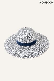 Monsoon Blue Pattern Floppy Straw Hat