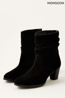 Monsoon Black Slouch Suede Ankle Boots