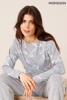 Monsoon Grey Lisa Love Print Jersey Top