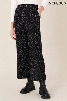 Monsoon Black Poppy Spot Print Plissé Trousers