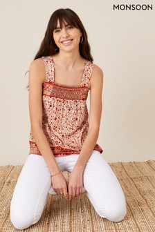 Monsoon Orange Heli Heritage Print Jersey Cami