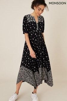 Monsoon Black Alianna Heritage Print Hanky Hem Dress