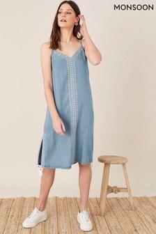 Monsoon Blue Embroidered Slip Dress In Lenzing Tencel