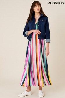 Monsoon Pink Isla Stripe Maxi Dress In Sustainable Viscose
