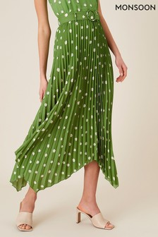 Monsoon Green Spot Print Pleated Midi Skirt