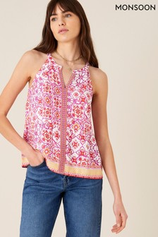 Monsoon Red Beaded Floral Print Cami