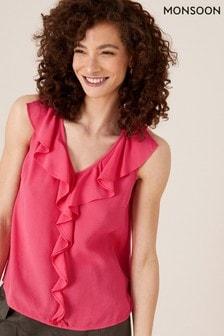 Monsoon Pink Ruffle Short Sleeve Blouse