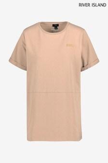 River Island Beige RI One Seamed Boyfriend T-Shirt
