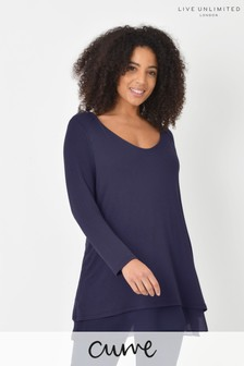 Live Unlimited Curve Navy V-Neck Double Layer Top