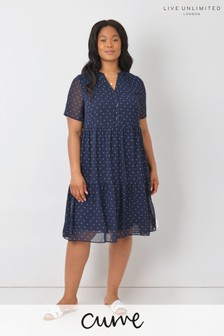 Live Unlimited Curve Navy Bow Print Tiered Dress