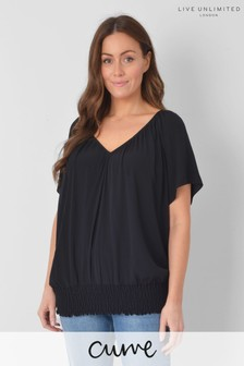 Live Unlimited Curve Black Short Sleeve Blouson Top