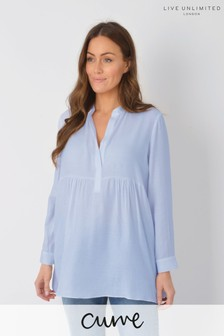 Live Unlimited Curve Blue Chambray Nehru Longline Top