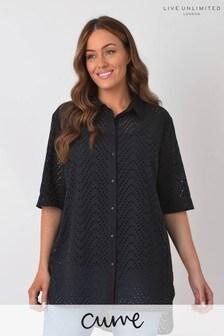 Live Unlimited Curve Black Cotton Broderie Shirt