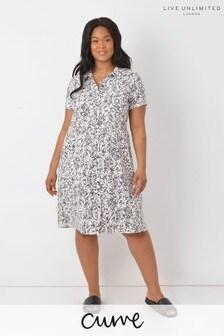 Live Unlimited Curve White & Black Mini Dash Print Dress