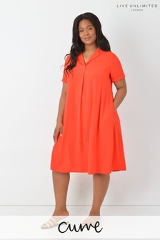 Live Unlimited Curve Red Flared Shirt Dress