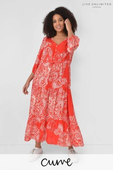 Live Unlimited Curve Red Paisley Midi Dress