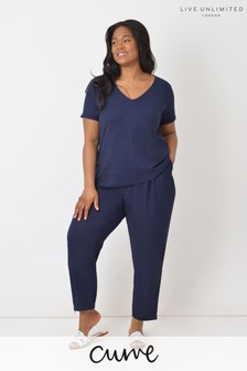 Live Unlimited Curve Navy Zip Detail Tapered Leg Trousers