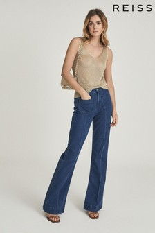 Reiss Gold Amanda Metallic Knitted Top