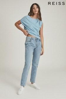 Reiss Blue Olivia Asymmetric Fine Knit Top