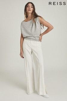 Reiss Grey Olivia Asymmetric Fine Knit Top