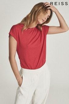 Reiss Pink Leandra Fine Jersey T-Shirt