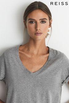Reiss Grey Luana Cotton-Jersey V-Neck T-Shirt