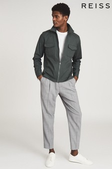 Reiss Green Gemini Zip Through Overshirt