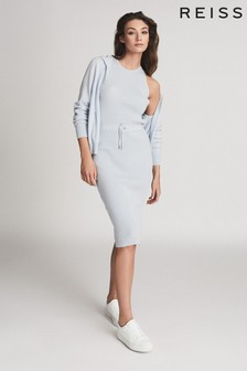 Reiss Blue Josephine Knitted Midi Dress