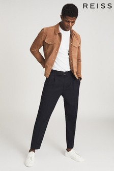 Reiss Brown Jagger Suede Trucker Jacket