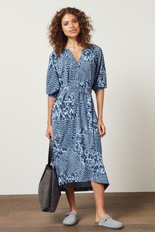 V-Neck Belted Midi Dress