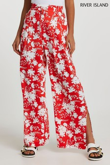 River Island Red Floral Super Wide Leg Leggings