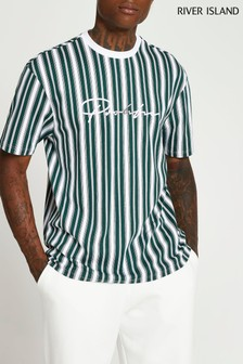 River Island Green Prolific Slim Stripe T-Shirt