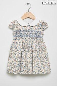 Trotters London Blue Catherine Rose Smocked Dress