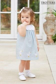 Trotters London Blue Petal Duck Linen Dress