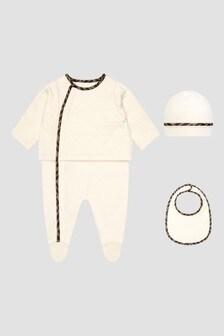 Fendi Kids Baby Beige Sleepsuit Gift Set