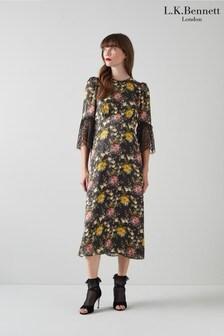 L.K.Bennett Black Agnes Lace Sleeve Floral Dress