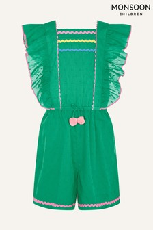Monsoon Green Fiesta Pom Pom Playsuit