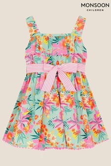 Monsoon Blue Baby Tropical Flamingo Dress