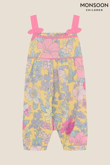 Monsoon Yellow Baby Floral Jumpsuit In Linen Blend