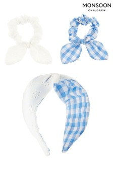 Monsoon Blue Reversible Gingham And Broderie Hair Set